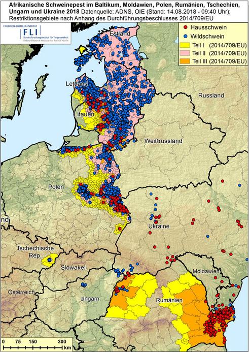 ASF:n levinneisyys Euroopassa ja lähialueilla, kuva FLI