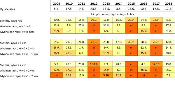 """Lajikkeiden lämpösummavaatimuksen täyttyminen Jokioisilla vuosina 2009-2018 eri kylvöajankohdilla. Punaiset """"ei""""-merkinnät tarkoittavat, että lajikkeen vaatima lämpösummavaatimus ei ole täyttynyt. Lihavoituna ovat ne, joissa yöpakkanen olisi pysäyttänyt lehtivihreän hajoamisen. Lajikkeiden lämpösummavaatimukset: Synthia 1069 C, aikainen rapsi 1200 C ja myöhäinen rapsi 1250 C."""