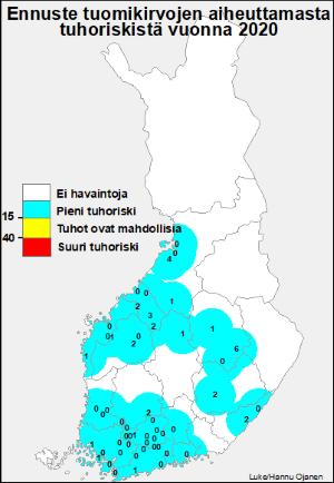 Tuomikirvaennustekartta 2020 (kuva: Luke/Hannu Ojanen)