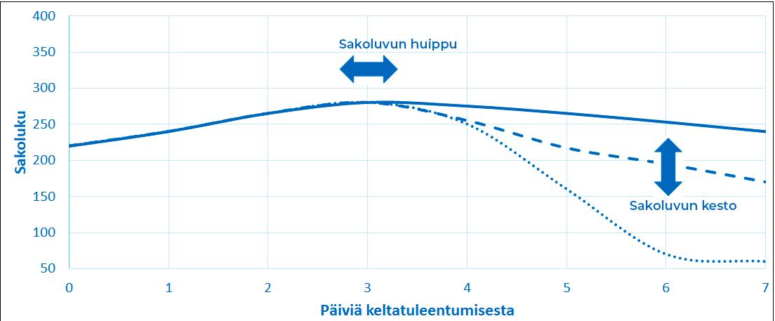 Kevätvehnän sakolukuhuippu ja sakoluvun laskunopeus vaihtelevat lajikeominaisuuksien ja olosuhteiden mukaan. Hyvä sakoluvun kesto tarkoittaa, että sakoluku laskee hitaasti myös heikommissa olosuhteissa.