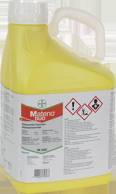 Mateno Duo sisältää tehoaineina diflufenikaania ja aklonifeenia. Valmisteella on rikkakasveihin poikkeuksellisen pitkä maavaikutusaika, tehoa riittää jopa 3 kuukaudeksi. 5 litran pakkaus riittää rukiille 14 hehtaarin käsittelyyn.