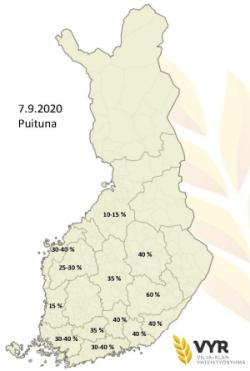 Puintien eteneminen alueittain 7.9.2020 (suurenna klikkaamalla), (Kuva VYR)
