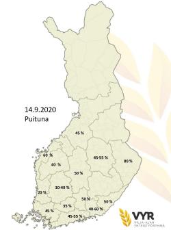 Puintien eteneminen alueittain 14.9.2020 (suurenna klikkaamalla), (Kuva VYR)