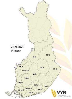 Puintien eteneminen alueittain 23.9.2020 (suurenna klikkaamalla), (Kuva: VYR)