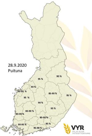 Puintien eteneminen alueittain 28.9.2020 (suurenna klikkaamalla), (Kuva: VYR)
