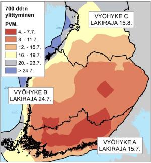 700 dd:n rikkoutumispäivämäärät eri puolilla Suomea, kuvassa myös metsätuholain korjuupäivämäärät vahingoittuneelle puustolle ko. vyöhykkeellä.